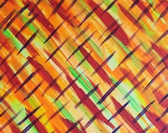 Rouge, Orange, jaune, vert, violet Original acrylique peinture abstraite sur toile «série 7 XXXVIII «Tenture murale, Art, décoration d'intérieur