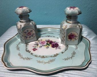 Vintage Pastel Floral Vanity Set