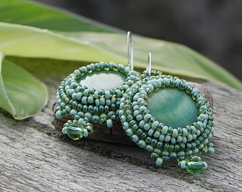 Green Beaded Earrings Beaded Seed Bead Embroidery Jewelry Bright Earrings Green Dangle Earrings Mother of Pearl Earrings Green Cabochons