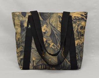READY TO SHIP Fabric Shoulder Tote Bag with Zipper and Pockets, Gothic Sorceress vs Grim Reaper, Goth Punk, Heavy Metal, Black Brown