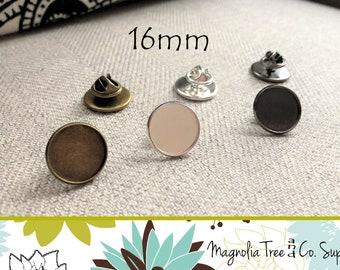 16mm Lapel Pins, Round Tie Tack Pin, Bezel Blank, Pin Back, Men Bezel Brooch Collar Clip, Pin and Brooch, Makes 20 Pins WS165/WS167/WS170)