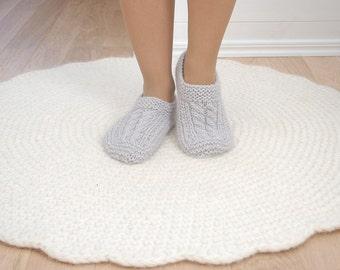 Wool slipper socks Gray cable knit socks - Gray woolen socks hand knitted