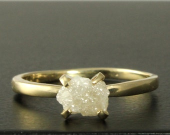 14K Yellow Gold Rough Diamond Ring - Raw Unfinished Diamond Conflict Free True White Diamond - Engagement Ring, Solitaire