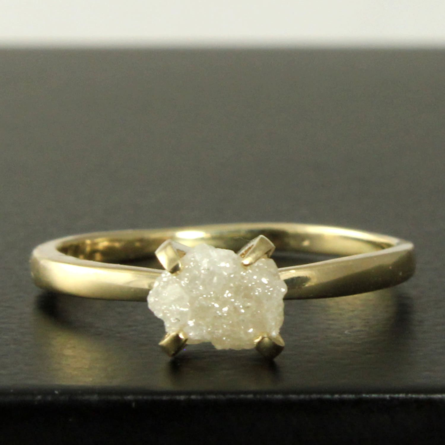 tensions diamond engagement ring rough raw media set gold white unique rings