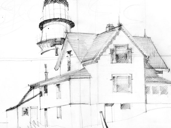 Edward Hopperu0027s Captain Uptonu0027s House, Pencil Drawing Of A House, Sketch,  Original Drawing, Original Pencil Drawing, Architecture