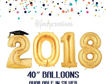 2018 GRADUATION Party Decorations | 2018 GRADUATION Balloons | Graduation Party Decor | Class of 2018 Graduation | Gold 2018 Balloon Banner