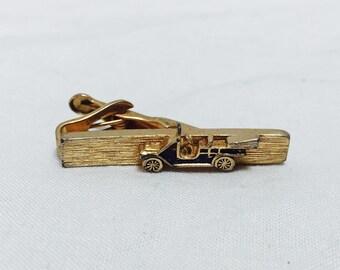 Vintage 1960s Antique Jalopy Car Gold Tie Clip