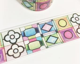 Bright Colorful Watercolor Stained Glass Windows Washi Tape 5.5 yards 5 meters 30mm