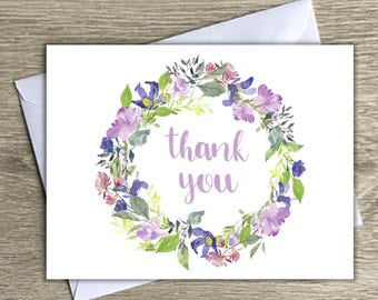 floral thank you notes, purple thank you notes, thank you notecards, watercolor thank you cards, thank you notes