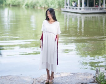 Womens Retro Loose Fitting V Neck Silk Cotton Long Robe With Pockets, Womens Summer Dresses, Womens Casual Dresses, White Dresses