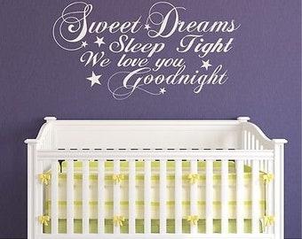 Wall art quote sticker sweet dreams kids bedroom girl childrens frozen elsa anna