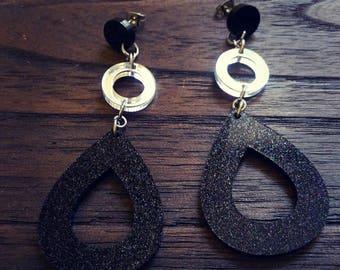 Elegant Black Glitter & Mirror Circles Dangle Stainless Steel Earrings.