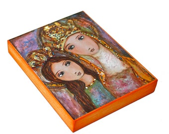 Ora Pro Nobis -  Giclee print mounted on Wood (6 x 8 inches) Folk Art  by FLOR LARIOS