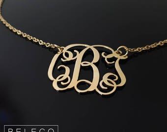 Monogram Necklace, Script Monogram Necklace, Personalized Monogram Necklace, Initial Necklace, Monogram Jewelry, Custom Monogram Necklace