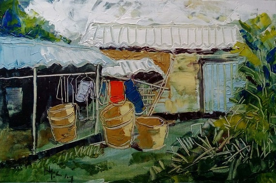 """LAUNDRY 16x10"""" textured oil on canvas, live painting, Mekong Delta (Cần Thơ Province), original by Nguyen Ly Phuong Ngoc"""