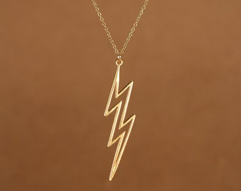 Lightening bolt necklace - layering necklace - gold lightening - thunder - a 22k gold overlay lightening bolt on a 14k gold vermeil chain