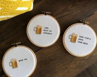 Funny Beer Cross Stitch - Beer Cross Stitch - Beer Embroidery - Beer Home Decor - Beer Me - Craft Beer - Beer Enthusiast - Beer Art