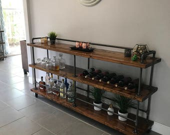 Industrial Bar Cart *FREE SHIPPING* - Buffet - Handmade - Rustic - Extra Long Version