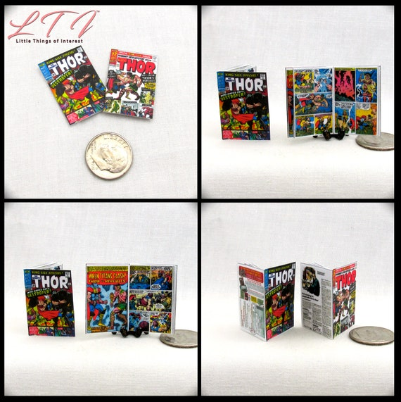 2 Miniature THE MIGHTY THOR Comic Book Dollhouse Readable Comic Book 1:12 Scale Marvel Avengers Super Hero Norse God Thunder Hammer Asgard