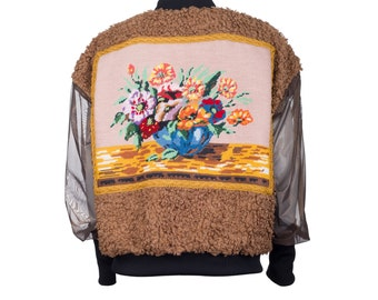 Bomber jacket MONA - curly fake fur with vintage embroidery L/40