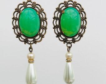 Art Deco Earrings Art Nouveau Earrings Edwardian Earrings Bridal Large Statement Earrings