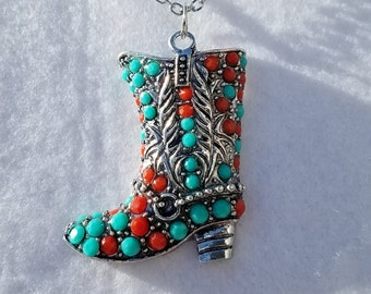 Colorful Cowgirl Boot Necklace