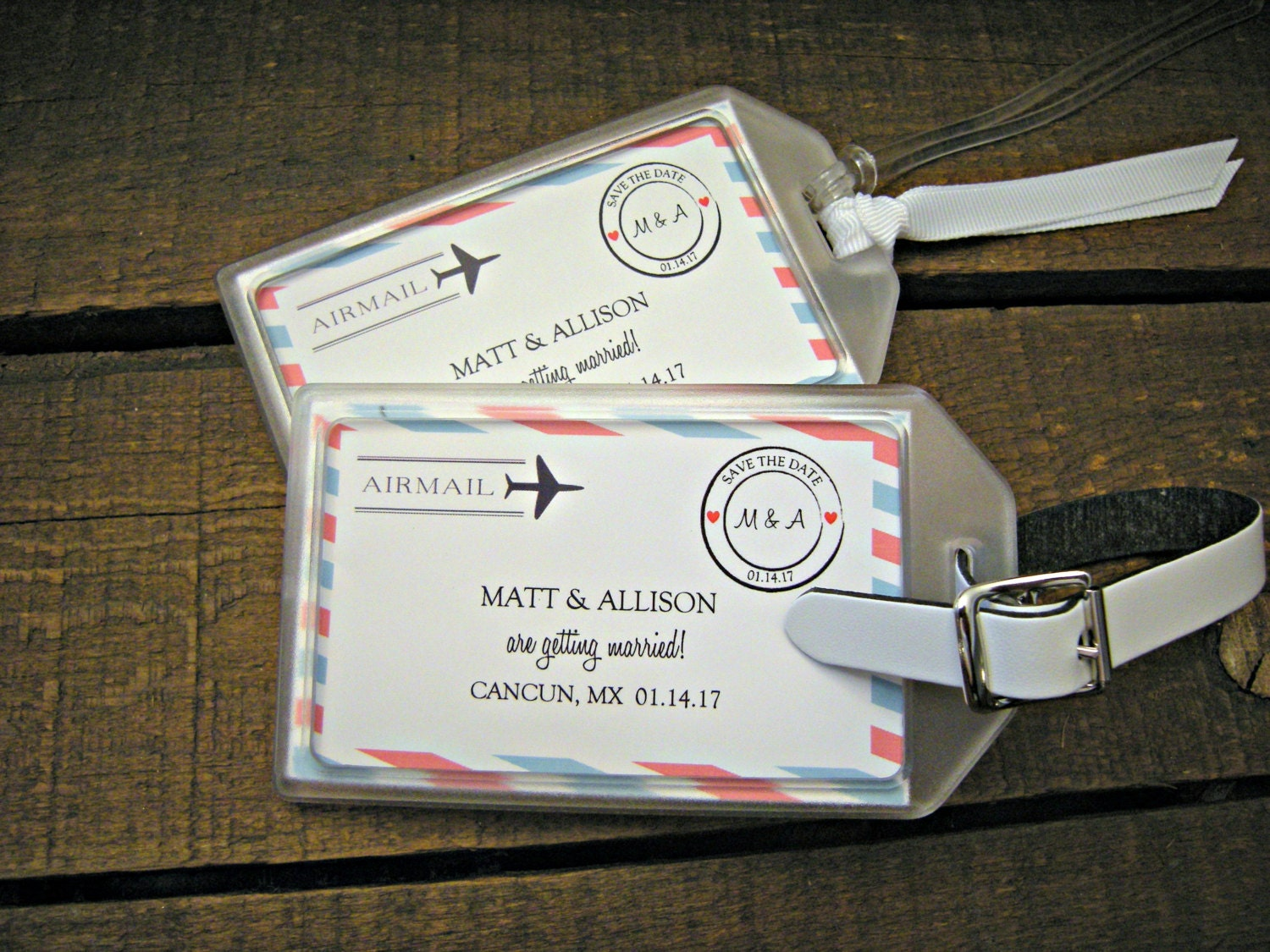 Save the Date Luggage Tags for Destination Weddings Luggage