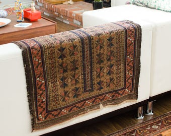 """Antique Baluch Hand Knotted 4' x 2'6"""" Wool Low Pile Prayer Rug - 1900's FREE DOMESTIC SHIPPING"""