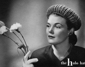 The Halo Hat, Vintage Crochet Hat Pattern - circa 1940 - PDF eBook