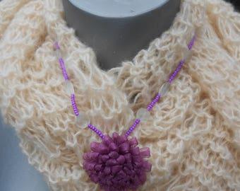 Flower necklace purple fabric