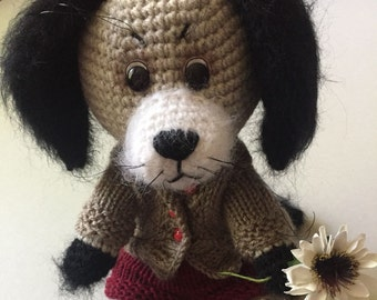 Amigurumi Crochet knitted Toy Dog Puppy Hand Made