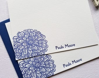 Zinnia Letterpress Stationery Personalized Deep Blue Flowers