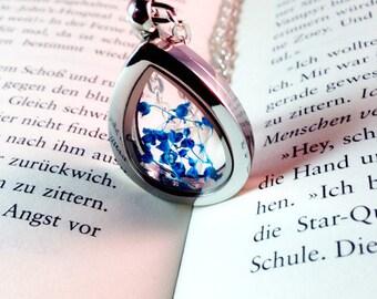 Gypsophila blue medallion glass dropper silver