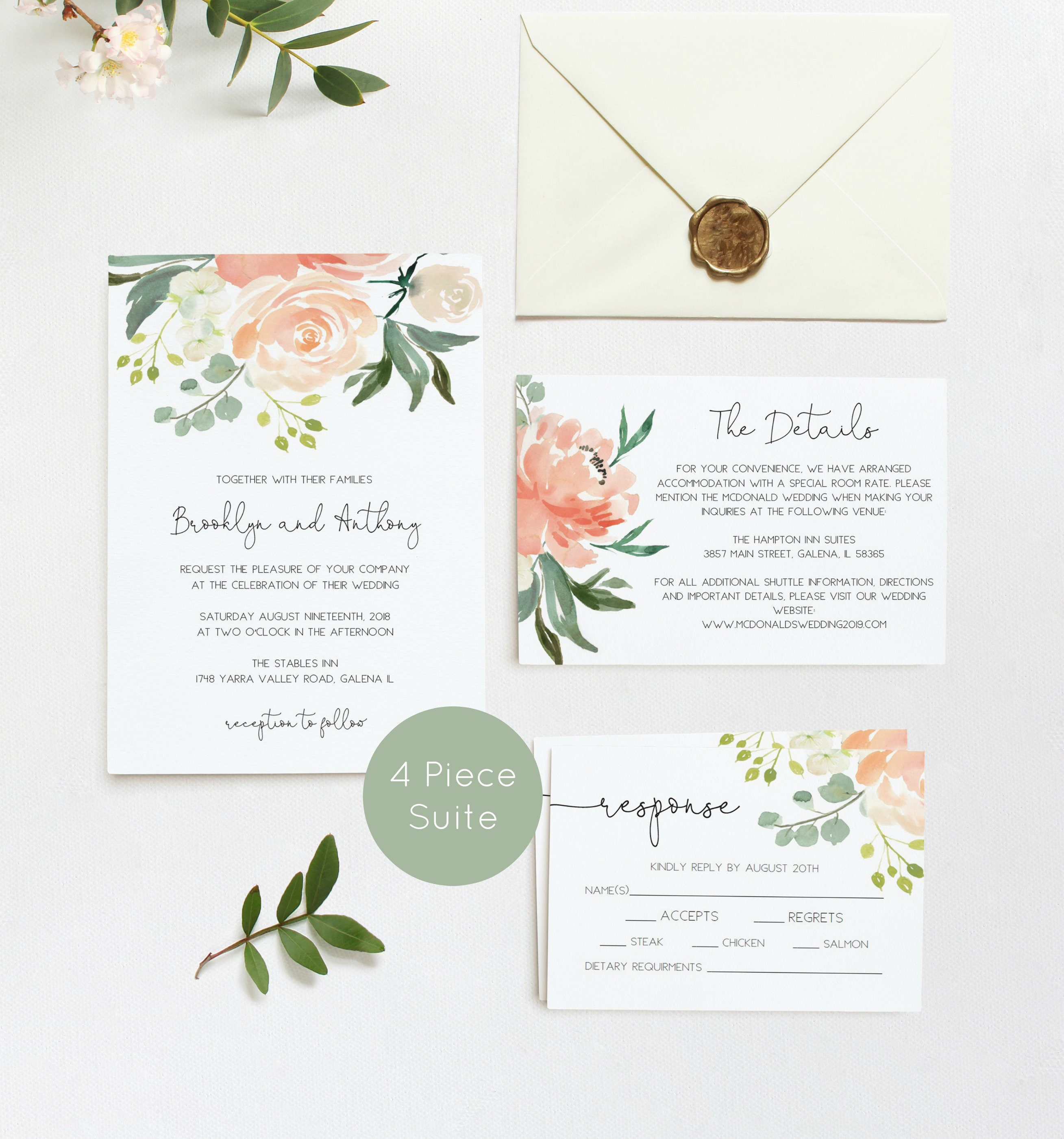 Greenery Wedding Invitaion Printable Peach Wedding Invitation Greenery Wedding Invitation Instant Download Edit Yourself WLP878