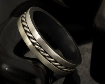 Man's Silver Ring, Dainty Wedding Band for men, Mens band, Mens wedding ring, Unique Wedding Band, Rustic Men's Anniversary Ring, RS-1158