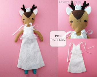Deer Sewing Pattern, Deer Doll Digital Pattern, Play Doll, Stuffed Deer Pattern, Stuffed Toy Pattern, Hand Sewing Deer, Plush Deer Toy PDF