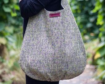 canvas hobo bag, xl shoulder bag, long hobo bag, slouch large bag, natural leather, hobo with zipper, loos hobo, green amranth black, sale