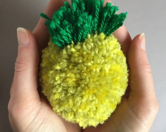 Pineapple Pom Pom keychain, bright yellow pineapple pom pom keyring, pineapple keyring, gifts for her, small gifts, pineapple keychain