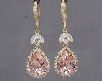 Blush Pink Earrings, Gold Wedding Earrings,Pink Crystal Earrings, Wedding Earrings for Brides, Bridesmaid Earrings, Peach Swarovski Crystal