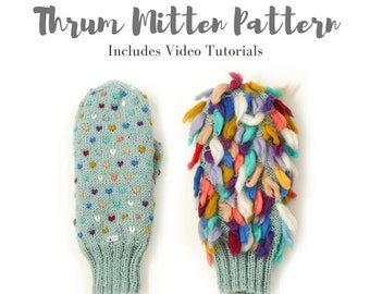 Thrum Mitten Knitting Pattern/ Mitten Pattern Digital Download / Designed and published by Dubbele Dutch Crafts