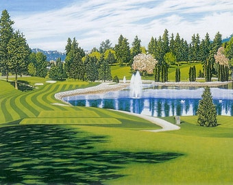 """20% OFF - Golf Art - """"Kelowna Golf and Country Club"""" - Limited Edition Watercolor Print of Canadian Golf Club - Free Shipping to US & Canada"""