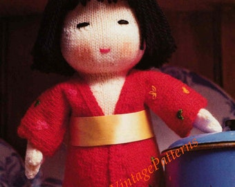 Japanese Doll ... Instant Download ... PDF Knitting Pattern ... Soft Toy Doll Pattern