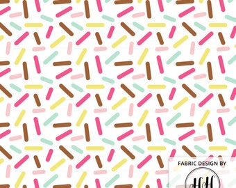 Donut Sprinkles White Colorful Fabric by the Yard - White Icing Ditsy Baby Jimmies Print in Yard and Fat Quarter