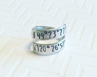 Coordinates Ring - Silver Wrap Ring - Hand Stamped Ring - Personalized Ring - Gift For Her - Anniversary Gift - Skinny Block Font