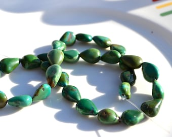 Natural turquoise Long Drilled Teardrop Beads  4