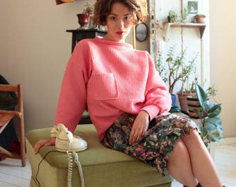 Pink sweater, pink sweater, cotton sweater, cotton sweater, pink sweater, sweater, sweaters in salmon, coral sweater