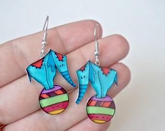 Elephants dangle earrings, Elephant jewelry, Circus funny earrings