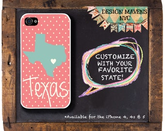 Texas iPhone Case, Texas State Love Phone Case, Personalized iPhone 8, 8 Plus, iPhone 7, 7 Plus, iPhone 5, 5s, 5c, iPhone 6, 6s, 6 Plus, SE