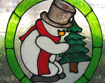 Snowman with a Chritmas Tree stained glass window Cling