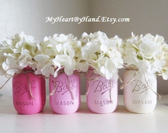 Pink Mason Jar Centerpieces, Baby Shower Decor, Baptism Centerpieces, Painted Ball Jars, Girl Baby Shower, Pink Ombre, Rustic Home Decor